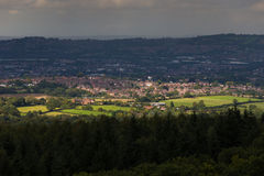 Evening Sun  covering part of City / Country wide Stock Images