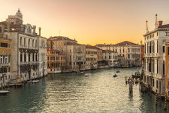 Evening sun on Grand Canal in Venice Stock Photo