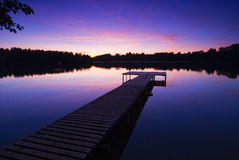 Evening sun at lake Stock Images