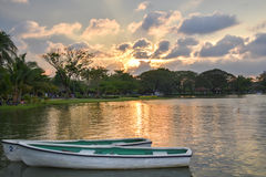 Evening Sun light and Boat in the Suan-Luang Rama 9 Park Bangkok,. Thailand Stock Photography