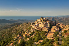 Evening sun on mountain village of Speloncato in Corsica Royalty Free Stock Photography