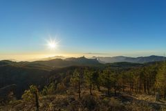 Evening sun over mountains of Gran Canaria, Spain Stock Image
