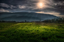 Evening sun rays on a landscape Royalty Free Stock Photo