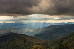 Evening Sun Rays Over Blue Ridge Mountains North Carolina Stock Photos