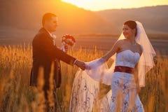 Evening sun shines over a happy wedding couple. A Stock Photos