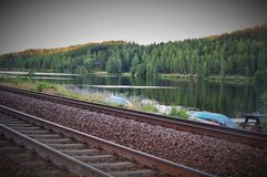 Evening sun. The sunsetsilence, at the railway Royalty Free Stock Image