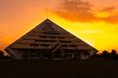 The Evening Sun. The sun was shining through in King Mongkut's University of Technology North Bangkok Prachinburi.Building in  Chao Phya Abhaibhubejhr Hospital Royalty Free Stock Photo