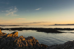 Evening sunlight, Eigg, Ardnamurchan, Sea, Sky Stock Image