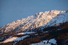 Evening sunlight on mountain Royalty Free Stock Images