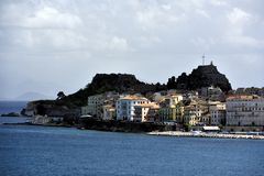 Sunlight on the apartments of Corfu Royalty Free Stock Image
