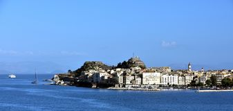 Sunlight on the apartments of Corfu Royalty Free Stock Photos