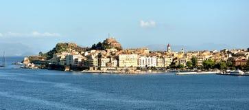Sunlight on the apartments of Corfu. Evening sunlight on the town of Corfu in September 2017 Stock Photos