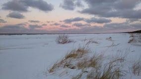 Evening sunset on the beach on the sea. Latvia, Riga Royalty Free Stock Photo