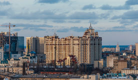 Evening sunset cityscape from rooftop in Voronezh, view to new modern architectu Stock Photo