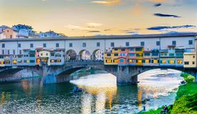 Evening Sunset Party Arno River Ponte Vecchio Florence Italy. Evening Sunset Dinner Party Arno River Ponte Vecchio Florence Tuscany Italy. Bridge originally Royalty Free Stock Image