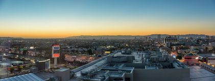 Evening sunset at downtown city skyline Royalty Free Stock Images