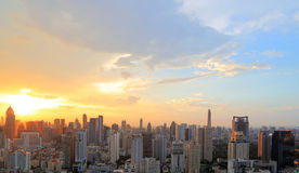 In the evening of Sunset over city scape Stock Image
