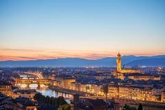 Evening sunset over florence with ponte vecchio bridge Royalty Free Stock Photo