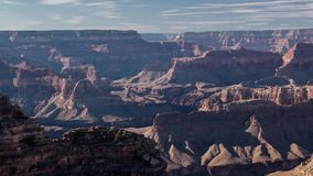 Shadows enter the Grand Canyon at Sunset. Evening sunset over the Grand Canyon as shadows slowly make their way across the formations stock footage