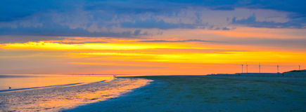 Evening sunset over sea. Sunset over sea in holland Stock Photo