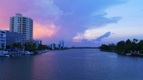 Evening sunset pink sky miami beach gulf panorama 4k usa. Usa evening sunset pink sky miami beach gulf panorama 4k stock video footage
