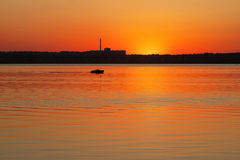 Evening sunset on the river. The picture shows a beautiful sunset on the river Royalty Free Stock Photos