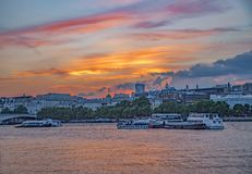 Sunset River Thames view with Somerset House in background. Evening Sunset River Thames view with Somerset House in background. Taken in August stock photography