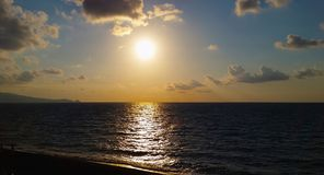 Evening sunset on sea. At Capo Calava, Italy Royalty Free Stock Photography