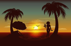 Evening sunset on tropical island. Sea, palm trees, silhouette of girl with drink Stock Photo