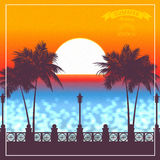 Evening sunset in tropics a vector illustration. Royalty Free Stock Photography