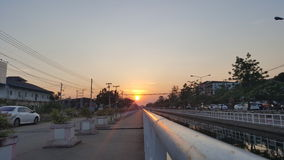 Evening sunset view beside canal Stock Images