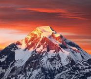 Evening sunset view of mount Dhaulagiri, Himalayas, Nepal. Mount Dhaulagiri, evening sunset view of mount Dhaulagiri, Himalayas, Nepal royalty free stock images