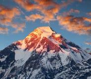 Evening sunset view of mount Dhaulagiri, Himalayas, Nepal Royalty Free Stock Images
