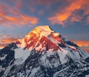 Evening sunset view of mount Dhaulagiri, Himalayas, Nepal Royalty Free Stock Photos