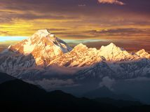 Evening sunset view of mount Dhaulagiri, Himalayas, Nepal Stock Photo