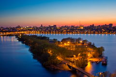 Evening sunset in Voronezh. View to Voronezh water reservoir and island connected with bridges Royalty Free Stock Photography