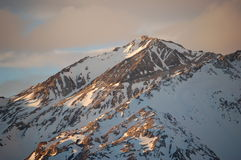 Evening sunshine on snow-covered mountain range, Argentina. Evenning in Las Lenas ski resort in the high mountains, Mendoza province, Argentina, patagonia Stock Images