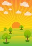 Evening sunshine, summer rural landscape, background Stock Photos