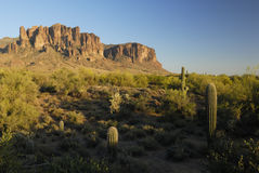 Evening in Superstition Mountains in Arizona Stock Image