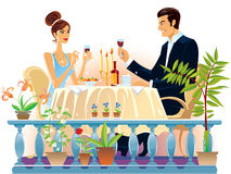 Evening supper. A girl and a man sitting in the evening at a table and drinking wine stock illustration