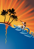 Evening surfer vector. Surfer on abstract waves in the summer,floral & grunge elements,vector illustration Stock Images
