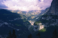 Evening in Swiss Alps, Jungfrau Region Stock Photo