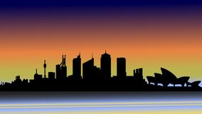 Evening Sydney in silhouette. royalty free illustration
