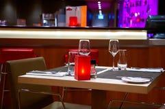 Evening table in restaurant Stock Photos