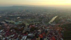 Evening in Tbilisi, Georgia, aerial stock video