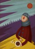 Evening Tea. Man Drinking Tea when Cold Weather royalty free illustration