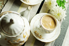 Evening tea. Tea time, evening tea on a coffee table royalty free stock photos