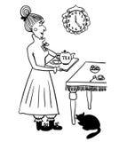 Evening tea drinking elderly lady comic illustration Royalty Free Stock Photography