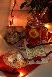 Evening tea with homemade cookies stock images