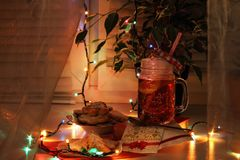 Evening tea with homemade cookies stock photos